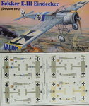 Fokker E.III Eindecker , Double Set, 1/144, Valom
