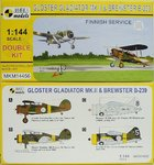 Gloster Gladiator Mk.II Und Brewster B-239 Buffalo, Finish Service,1/144, Mark I, Double Kit