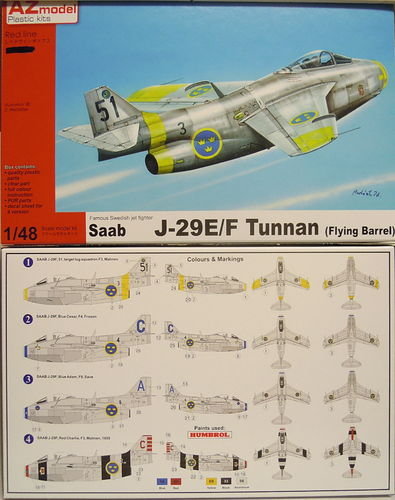SAAB J-29 E/F Tunnan, AZ Model, 1/48