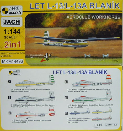 Let L-13/TZ-13 Blanik, Zivil International, Doppelpack, 1/144, Mark I.Models